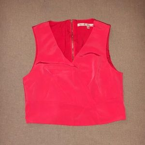 Coral Zip-Up Crop Top
